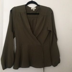 Olive green blouse with mock wrap look